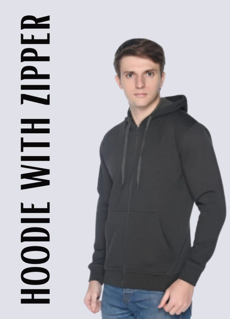 hoodie with zipper full sleeves multi colour with hood